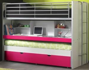 Bonny Etagenbett Doppelbett Hochbett Bett Bettgestell 90 x 200 cm Weiß / Lila Soft (2 Stk. )