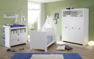 Trendteam 'Olivia' 4-tlg. Babyzimmer-Set, weiß/blau, aus Bett 70x140 cm, Kleiderschrank, Wickelkommode mit Unterstellregal, Wandboard