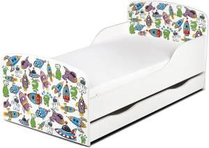 Leomark Kinderbett 70x140 cm, UFO, mit Matratze, Schublade und Lattenrost