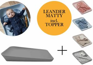 Leander Matty Wickelauflage + Topper + Hoodie Dusty Grey Blueberry