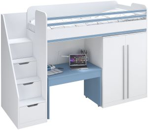 Polini City Funktions-Hochbett, inkl. Treppe, Schrank und Tisch, weiß/blau