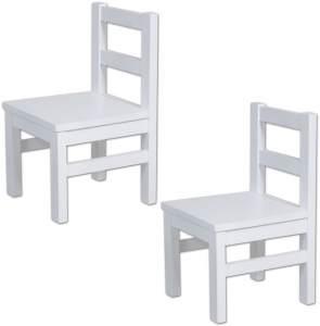 Bubema Kinderstuhl aus massiver Buche, 2er Set, weiß lackiert