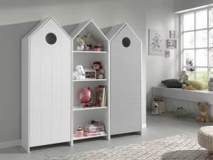 Vipack 'Casami' 3-tlg. Schrank weiß, grau, mit 12 Ablagefächern und 2 Türen
