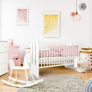 Babybett 60x120 cm, hhenverstellbar & herausnehmbare Sprossen, Kinderbett 120 x 60, sehr stabil und maximale Sicherheit