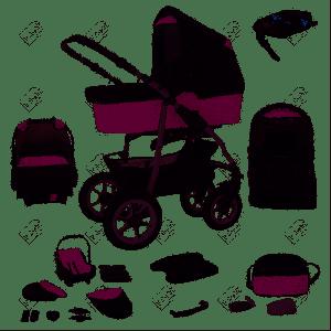 Bebebi Bellami - Isofix Basis und Autositz - 4 in 1 Kombi Kinderwagen Bellaviola Roues gonflables
