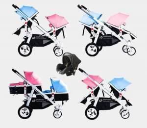 Babyfivestar Geschwisterwagen Blau / Pink inkl. Babyschale Schwarz