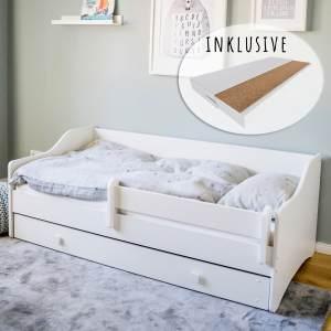 Kinderbett Jugendbett 80x160 mit Matratze Rausfallschutz & Schublade | Kinder Sofa Couch Bett umbaubar wei