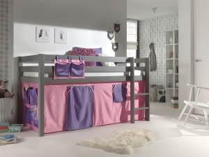 "Spielbett Pino mit Textilset ""Bella"", Kiefer massiv taupe"