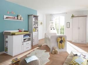 Bega 'Luca' 5-tlg. Babyzimmer-Set, aus Bett 70x140 cm, Wickelkommode inkl. Unterstellregal, 2-trg. Kleiderschrank, Standregal und Wandregal