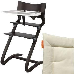 Leander Hochstuhl, walnussbraun, höhenverstellbar, Buche massiv, bis 125 kg, inkl. Sicherheitsbügel, Essbrett und Sitzkissen
