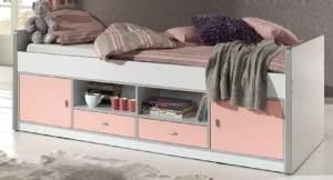 Bonny Kojenbett Jugendbett Bettgestell Kinderbett Bett 90 x 200 cm Weiß / Rosa, inkl. Matratze Basic und Lattenrost 17 Leisten