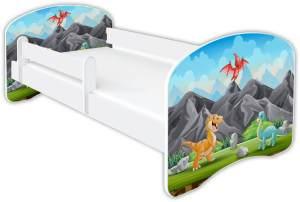 Clamaro 'Schlummerland Dinosaurier' Kinderbett 70x140 cm, Design 6, inkl. Lattenrost, Matratze und Rausfallschutz (ohne Schublade)