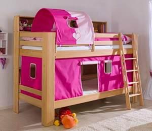 Relita 'Jan' Etagenbett mit Bücherregal, Stoffset 'Herz Pink/Rosa' und Matratzen