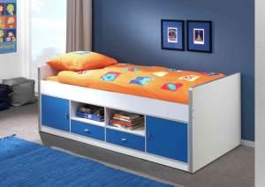 Bonny Kojenbett Jugendbett Bettgestell Kinderbett Bett 90 x 200 cm Weiß / Blau, inkl. Matratze Basic und Lattenrost 26 Leisten