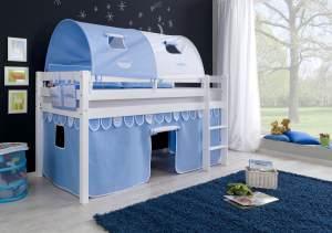 Relita Halbhohes Spielbett ALEX Buche massiv weiß lackiert mit Stoffset Vorhang, 2-er Tunnel und Tasche