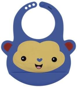 Lätzchen Affe Silikon 23 x 21,5 cm blau