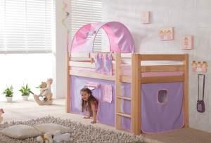 Relita Halbhohes Spielbett ALEX Buche massiv natur lackiert mit Stoffset purple/rosa/herz