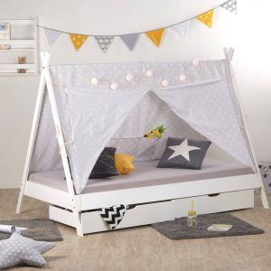 Homestyle4u 'TIPI' Kinderbett, weiß/grau, 90x200 cm, inkl. 2 Bettkästen, Lattenrost und Stoffüberwurf, Kiefernholz