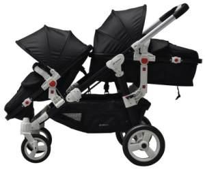 BabyFiveStar Geschwisterwagen Black (Schwarzes Gestell)