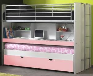 Bonny Etagenbett Doppelbett Hochbett Bett Bettgestell 90 x 200 cm Weiß / Rosa, inkl. Matratze Basic (2 Stk. )
