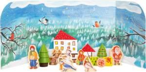 Small Foot 11675 Adventskalender mit liebevoll gestalteten Holzfiguren