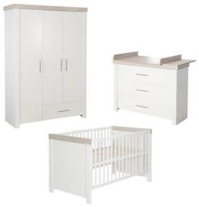 "Kindermöbelset ""Lucy' – 3-teilig, inkl. Kombi-Kinderbett 70 x 140 cm, Wickelkommode und Schrank 3-Türig"