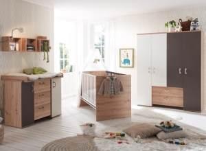 Babyzimmer Cordula in Asteiche, Lava matt und Weiß matt von Mäusbacher 3 teiliges Megaset