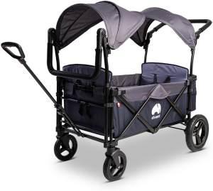 Elvent 'FamilyStar Premium' Bollerwagen in Blau klappbar, inkl. Sonnendach, Zugstange, Schiebegriff, 5-Punkt-Gurte und Hecktasche, 2-Sitzer