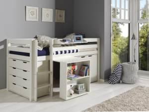 Pino 3-teiliges Kinderzimmerset Jugendzimmerset Kindermöbel Jugendmöbel 5 Weiß lackiert, inkl. Matratze Soft