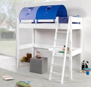 Relita 'RENATE' Multifunktionsbett mit Schreibtisch weiß, Stoffset Blau/Delfin inkl. Matratze