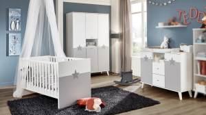 Wimex 'Rocky' 3-tlg. Babyzimmer, weiß/grau