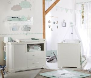 "Kindermöbelset ""Maxi"" – inkl. Kombi-Bett, 70 x 140 cm & breiter Wickelkommode, weiß"