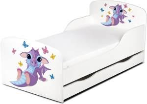 Leomark Kinderbett 70x140 cm, Babydrache, mit Matratze, Schublade und Lattenrost