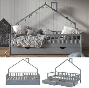 VitaliSpa 'Noemi' Hausbett grau, 90x200cm, Massivholz Kiefer, inkl. 2x Schubladen, Lattenrost und Rausfallschutz