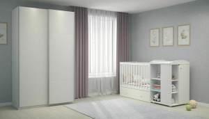 Polini Kids 3-tlg. Kinderzimmer-Set aus Kombi-Kinderbett, Kommode & Kleiderschrank