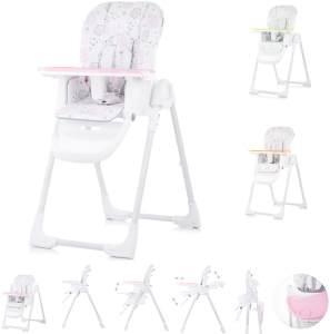 Chipolino, Kinderhochstuhl Sweety, Sitz verstellbar, klappbar, Sicherheitsgurt rosa