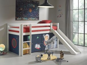 Pino Hochbett 2 Weiß lackiert 90x200 cm Spaceman, inkl. Matratze Soft