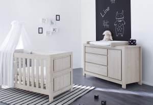 Pinolino 'Line' 2-tlg. Babyzimmer-Set grau, breit