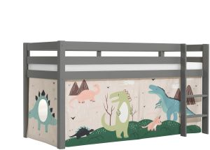 Vipack 'Pino' Halhochbett 90x200 cm, grau, Kiefer massiv, mit Textilset 'Dino'