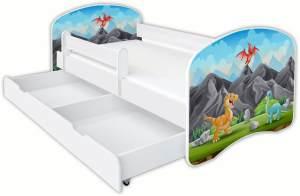 Clamaro 'Schlummerland Dinosaurier' Kinderbett 80x180 cm, Design 6, inkl. Lattenrost, Matratze, Rausfallschutz und Schublade