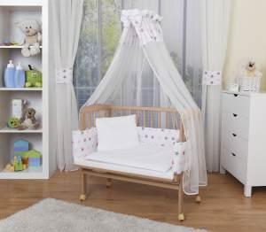 WALDIN Beistellbett mit Matratze und Nestchen, höhenverstellbar, Ausstattung Sterne-grau/rosa, Gestell Natur unbehandelt