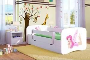 Kocot Kids 'Fee mit Flügeln' Einzelbett weiß 70x140 cm inkl. Rausfallschutz, Matratze, Schublade und Lattenrost