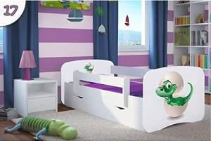 Kocot Kids 'Kleiner Dino' Einzelbett weiß 70x140 cm inkl. Rausfallschutz, Matratze, Schublade und Lattenrost