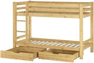 Erst-Holz Etagenbett 90x200 cm, natur, Kiefer massiv, inkl. Rollroste und Bettkästen