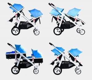 Babyfivestar Geschwisterwagen / Zwillingswagen Blue