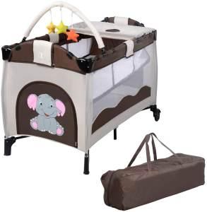 COSTWAY Reisebett klappbar | Babyreisebett | Kinderreisebett mit Rollen | Babybett | Kinderbett Inkl. Spielbogen/Tragetasche/Wickelauflage Braun