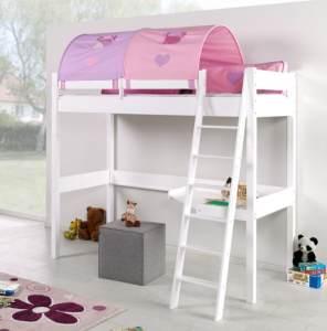Relita 'RENATE' Multifunktionsbett mit Schreibtisch weiß, Stoffset Lila/Rosa inkl. Matratze
