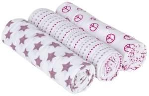 Lässig 'Sweet Dreams Girls' 3-er Pack Pucktücher Swaddle & Burp Blanket L
