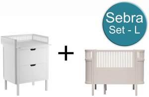 Sebra Baby & Juniorbett mit Kommode Set-L Birckbark Beige Weiss