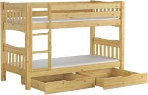 Erst-Holz Etagenbett Kiefer 90x200 cm inkl. Bettkästen, natur